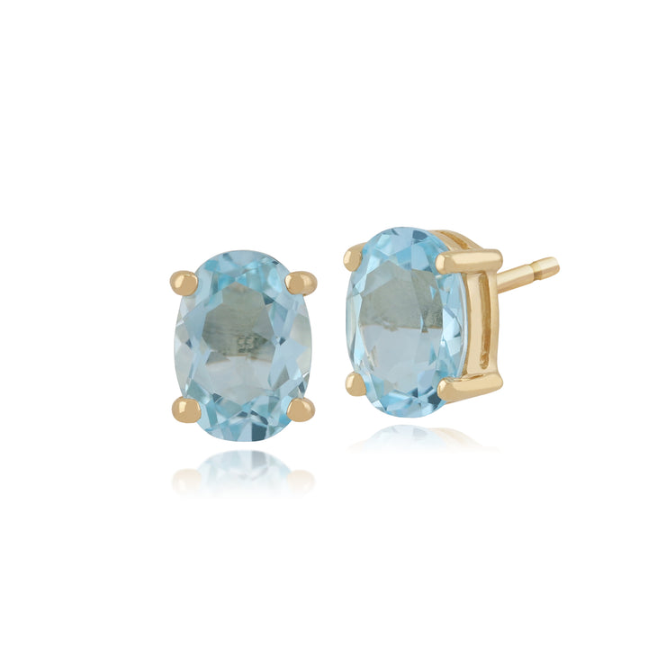 Classic Oval Blue Topaz Stud Earrings in 9ct Yellow Gold 7x5mm