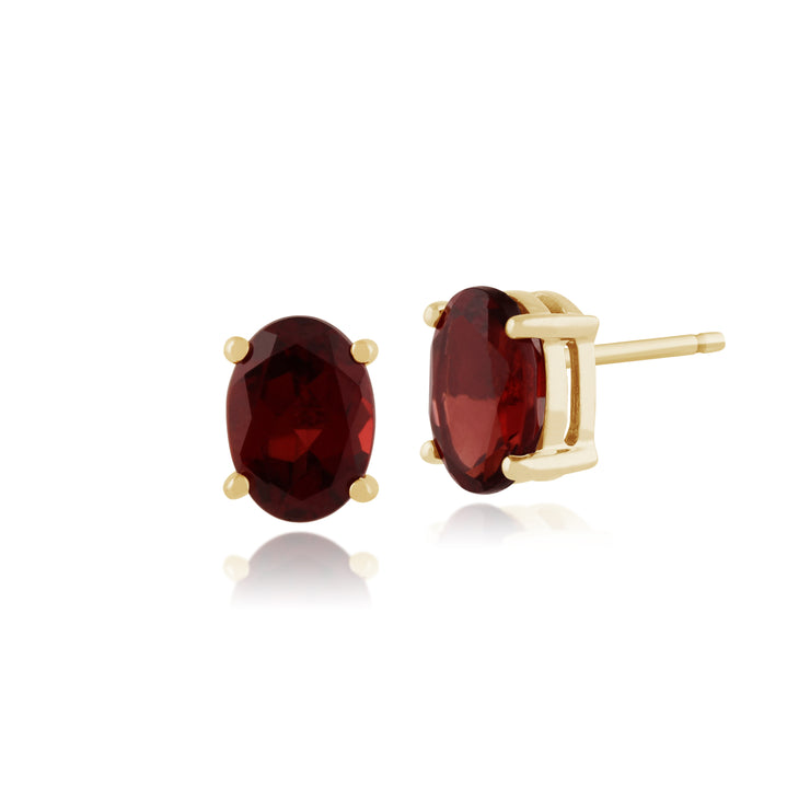 Classic Oval Garnet Stud Earrings in 9ct Yellow Gold 7x5mm
