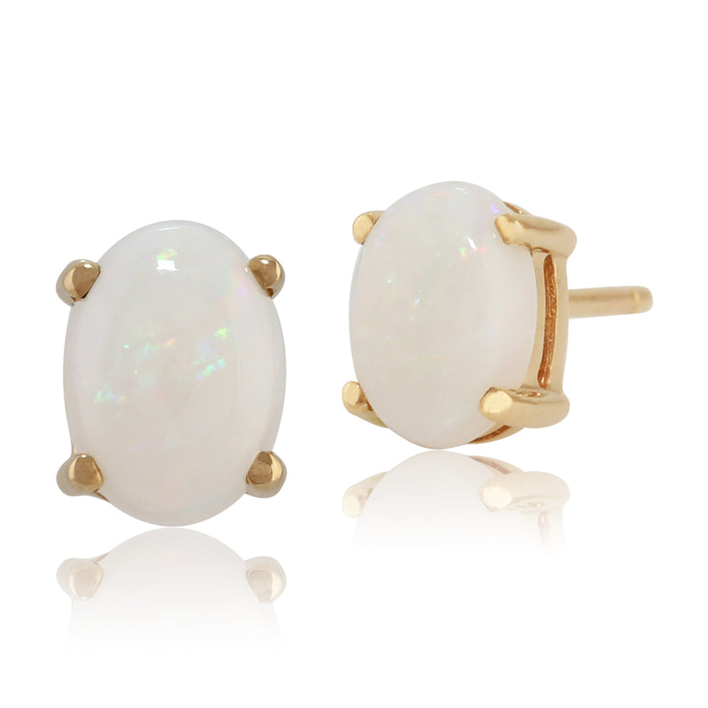Classic Oval Opal Stud Earrings in 9ct Yellow Gold 7x5mm