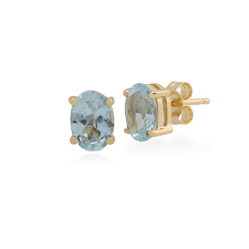 Classic Oval Aquamarine Claw Set Stud Earrings in 9ct Yellow Gold