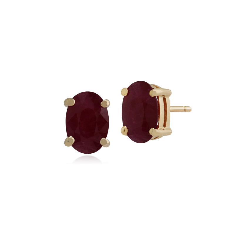 Classic Oval Ruby Single Stone Stud Earrings & Pendant Set in 9ct Yellow Gold