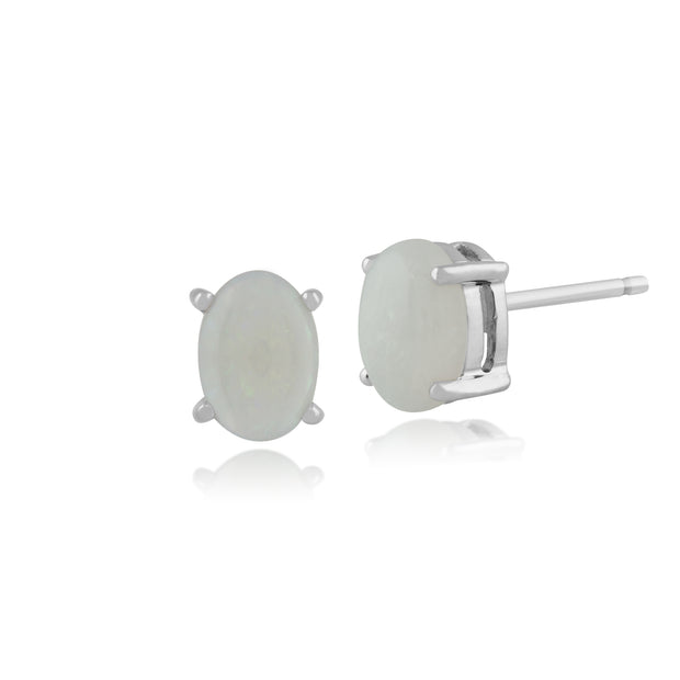 Classic Oval Opal Cabochon Stud Earrings in 9ct White Gold 7x5mm