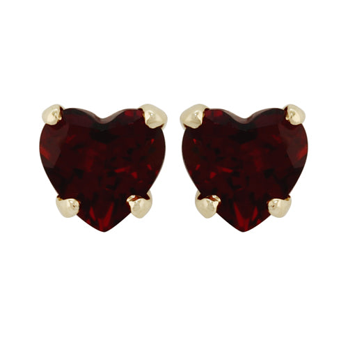 Small Classic Heart Garnet Stud Earrings in 9ct Yellow Gold