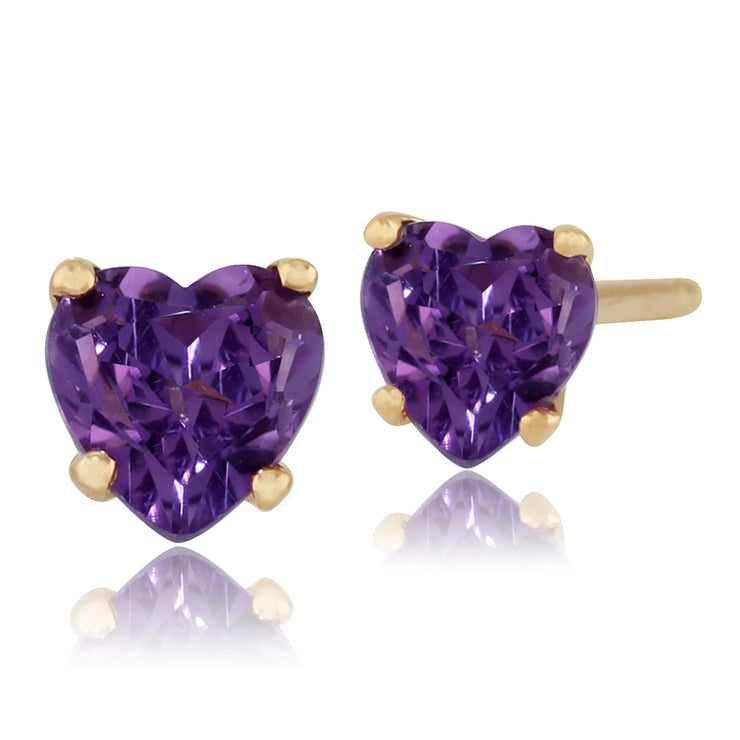Classic Heart Amethyst Stud Earrings in 9ct Yellow Gold