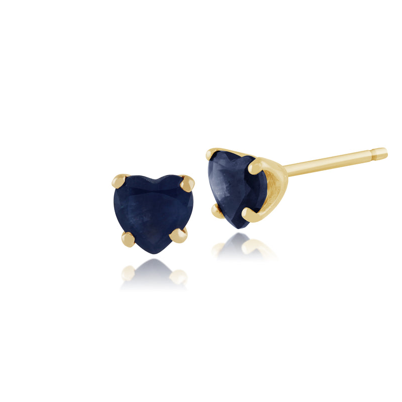 Classic Heart Light Blue Sapphire Stud Earrings in 9ct Yellow Gold 4mm