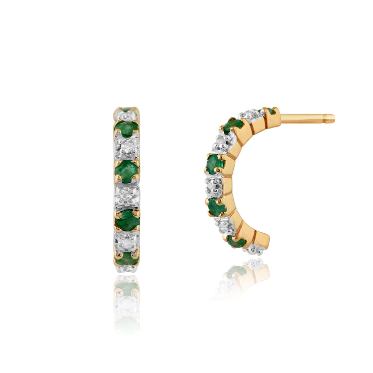 Classic Round Emerald & Diamond Half Hoop Style Earrings in 9ct Yellow Gold