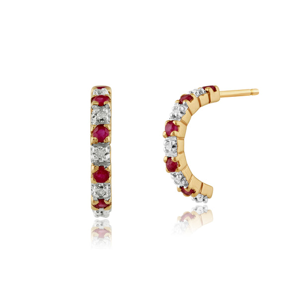 Classic Round Ruby & Diamond Half Hoop 9ct Gold Earrings