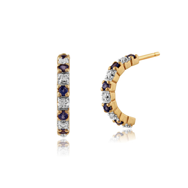 Classic Round Sapphire & Diamond Half Hoop Style Earrings in 9ct Yellow Gold