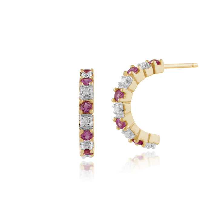 Classic Round Pink Sapphire & Diamond Half Hoop Style Earrings in 9ct Yellow Gold