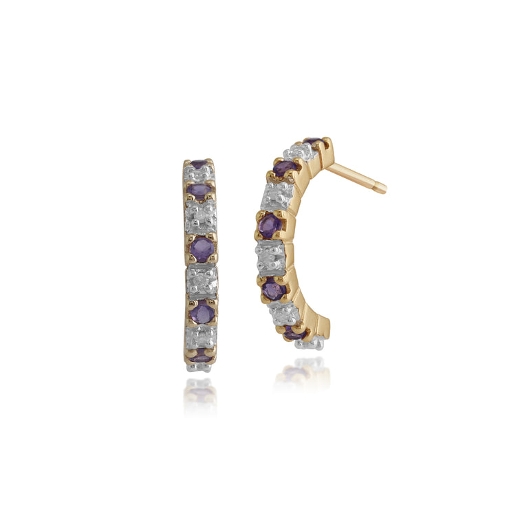 Classic Round Amethyst & Diamond Half Hoop Earrings in 9ct Yellow Gold