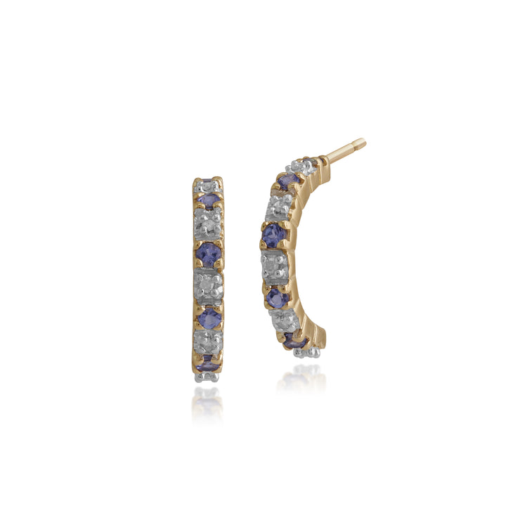 Classic Round Tanzanite & Diamond Half Hoop Earrings in 9ct Yellow Gold