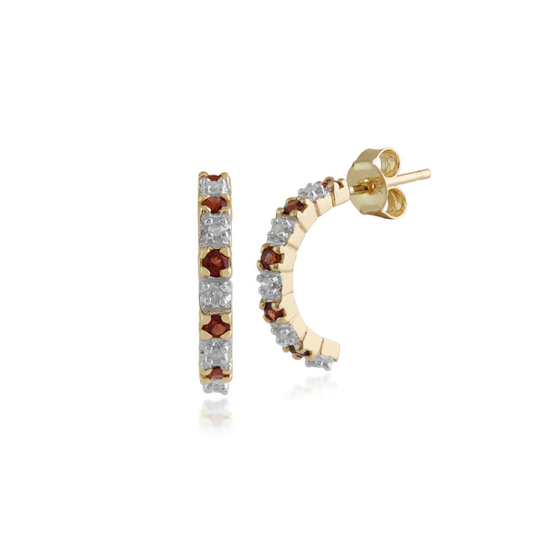 Classic Round Garnet & Diamond Half Hoop Earrings in 9ct Yellow Gold