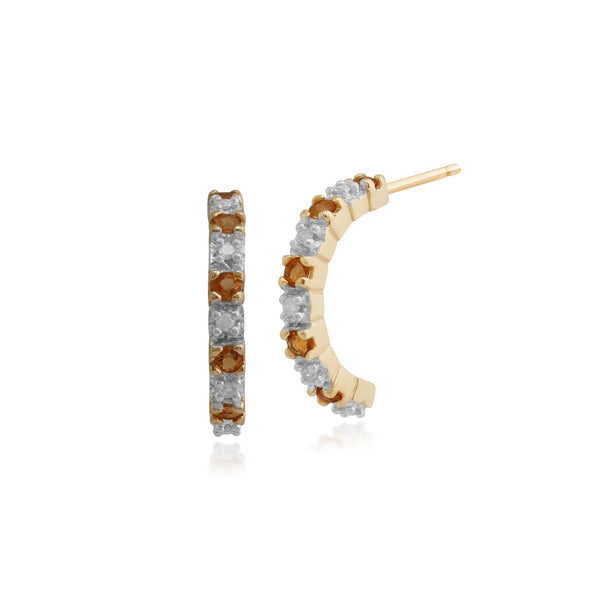 Classic Round Fire Opal & Diamond Half Hoop Earrings in 9ct Yellow Gold