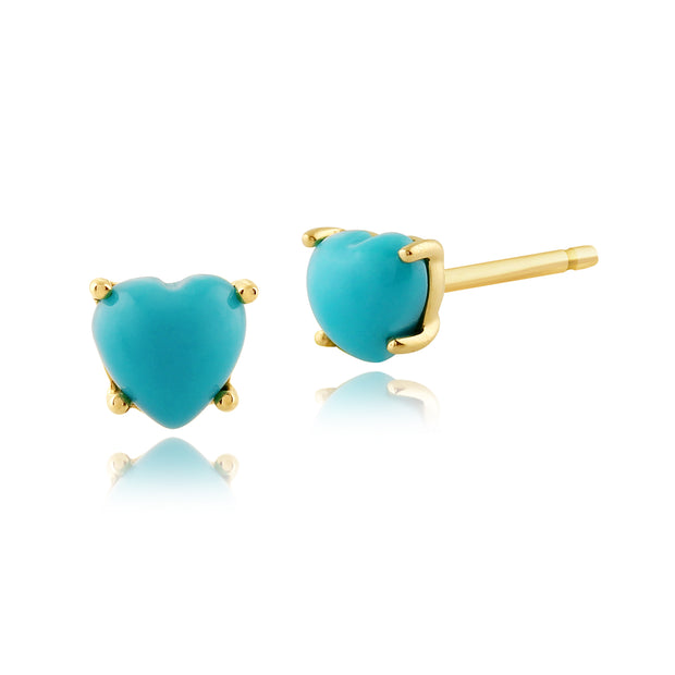 Classic Heart Turquoise Stud Earrings in 9ct Yellow Gold 4mm