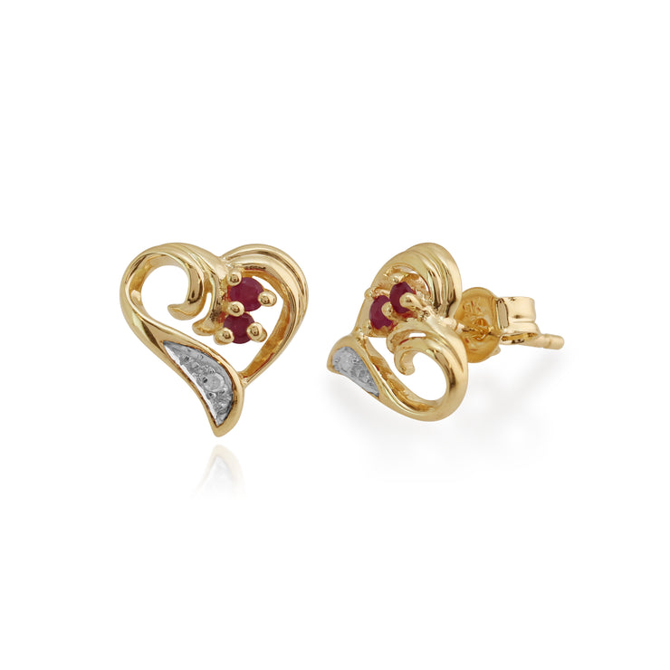Classic Round Ruby & Diamond Swirled Love Heart Stud Earrings in 9ct Yellow Gold