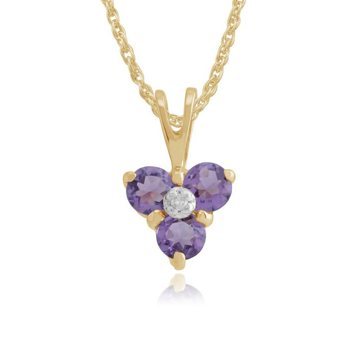 Classic Round Amethyst & Diamond Cluster Pendant in 9ct Yellow Gold