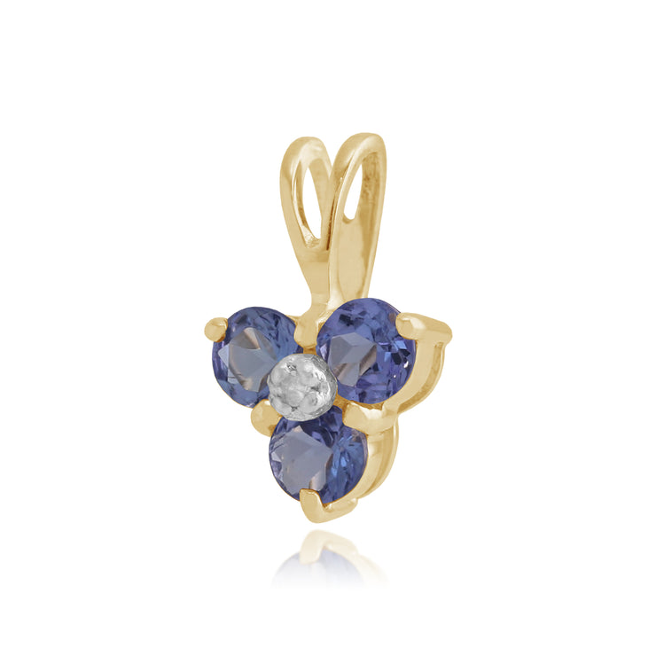 Floral Round Tanzanite & Diamond Pendant in 9ct Yellow Gold