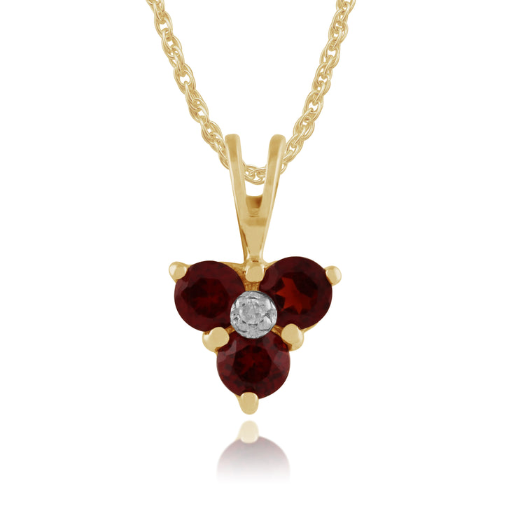Classic Round Garnet & Diamond Cluster Pendant in 9ct Yellow Gold