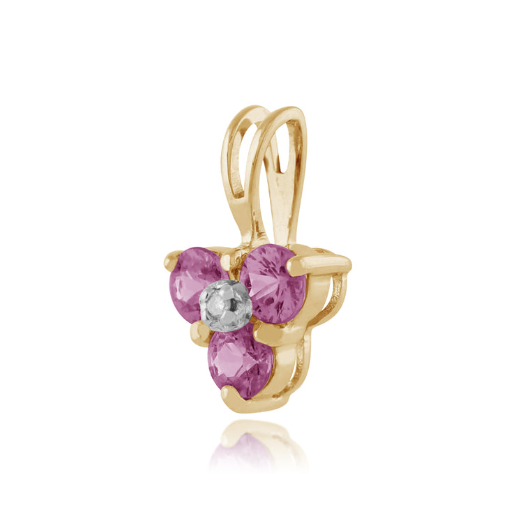 Floral Pink Sapphire & Diamond Stud Earrings & Pendant Set Image 4