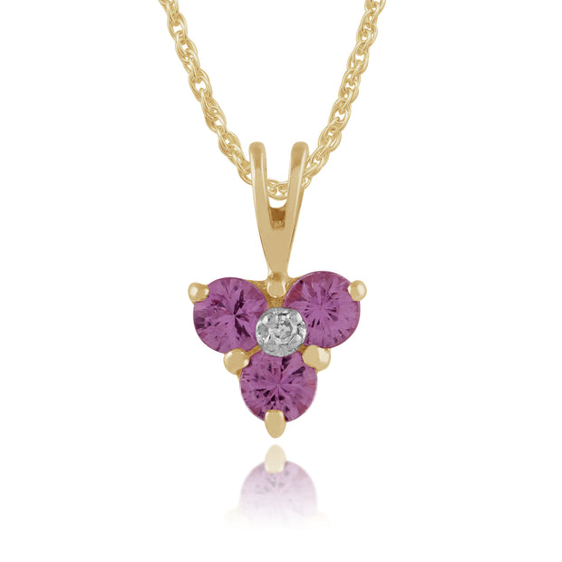 Classic Round Pink Sapphire & Diamond Cluster Pendant in 9ct Yellow Gold