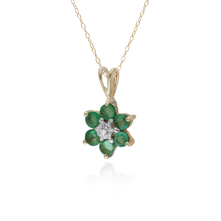 10ct Yellow Gold Emerald &Diamond Flower Pendant on 45cm Chain