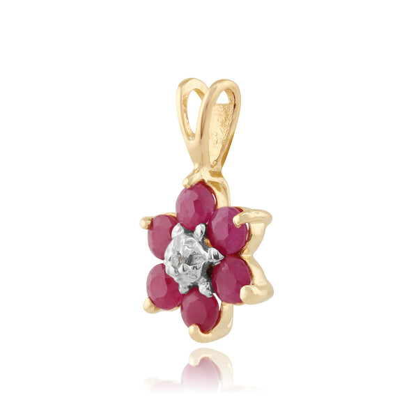 Floral Round Ruby & Diamond Cluster Pendant in 9ct Yellow Gold