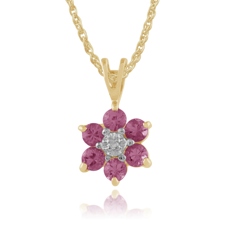 Floral Round Pink Sapphire & Diamond Cluster Pendant in 9ct Yellow Gold