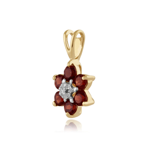Floral Round Garnet & Diamond Cluster Pendant in 9ct Yellow Gold