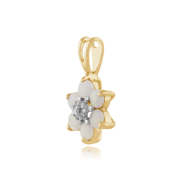 Floral Round Opal & Diamond Pendant in 9ct Yellow Gold