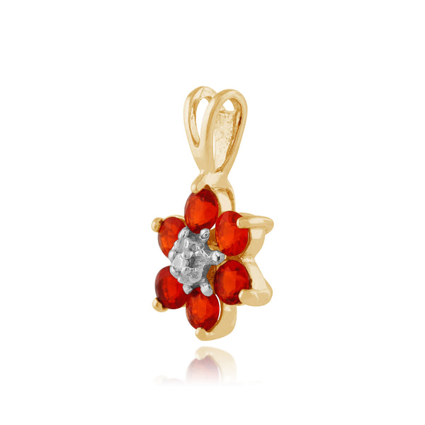Floral Fire Opal & Diamond Clyster Pendant on Chain Image 2