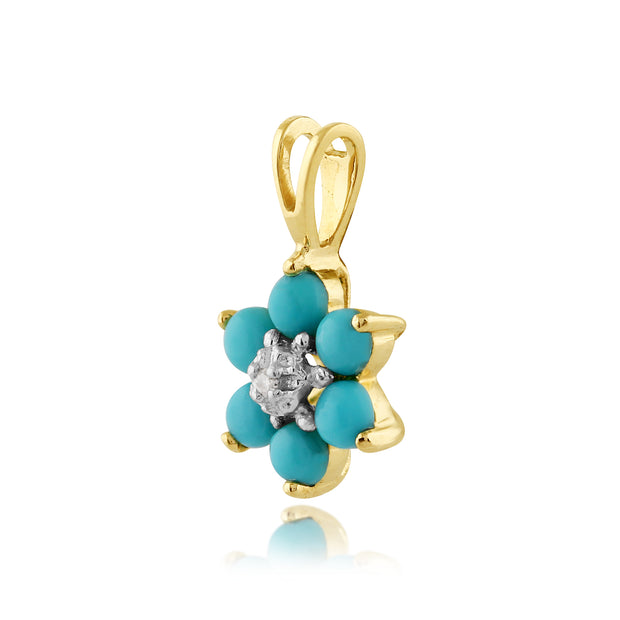 Floral Round Turquoise & Diamond Pendant in 9ct Yellow Gold