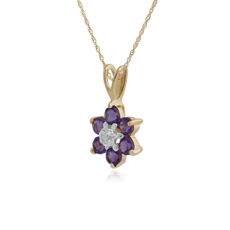 Floral Round Amethyst & Diamond Cluster Pendant in 9ct Yellow Gold
