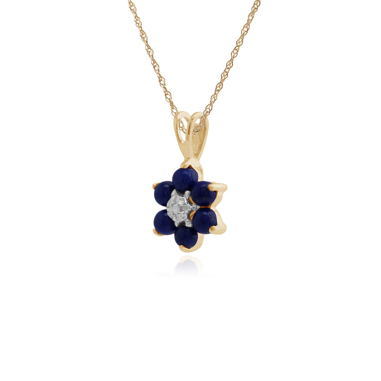 Floral Round Lapis Lazuli & Diamond Cluster Pendant in 9ct Yellow Gold