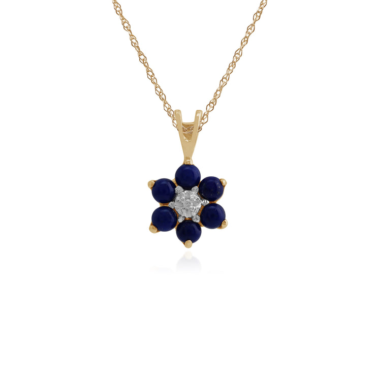 Floral Round Lapis Lazuli & Diamond Cluster Stud Earrings & Pendant Set in 9ct Yellow Gold