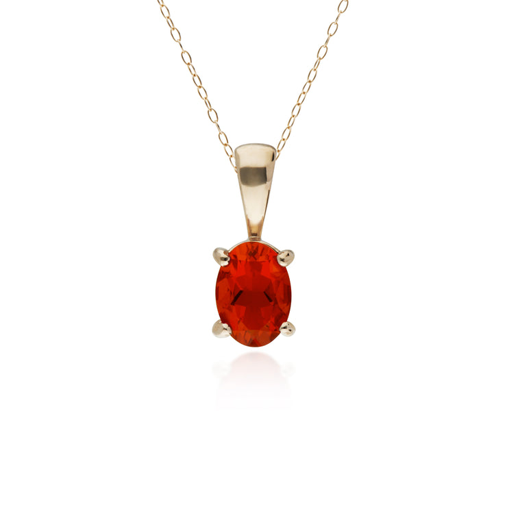 10ct Yellow Gold Fire Opal Oval Pendant on 45cm Chain