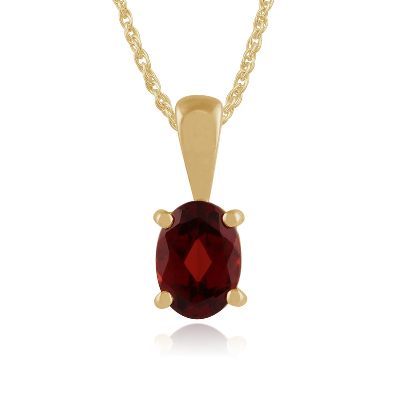Classic Oval Garnet Pendant in 9ct Yellow Gold