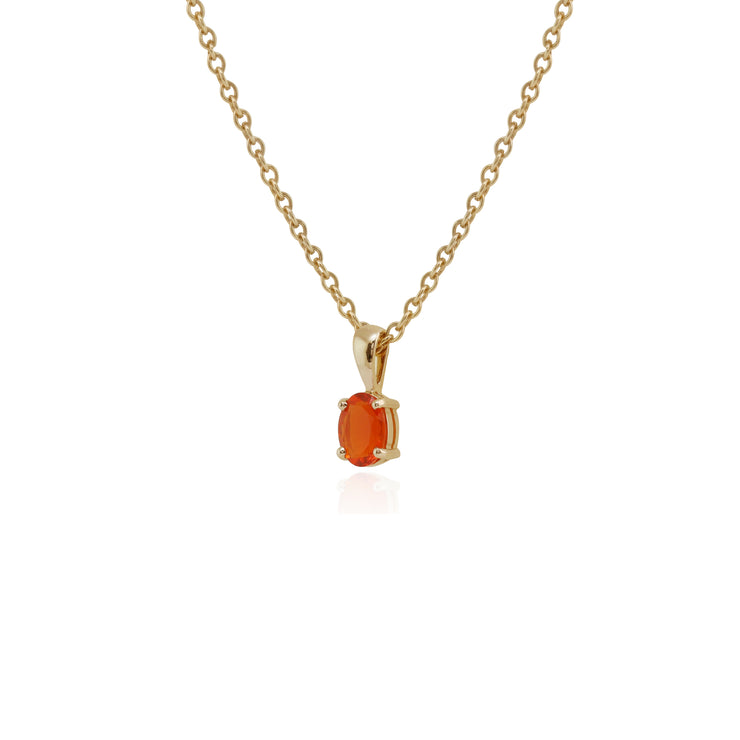 Classic Oval Fire Opal Single Stone Pendant in 9ct Yellow Gold