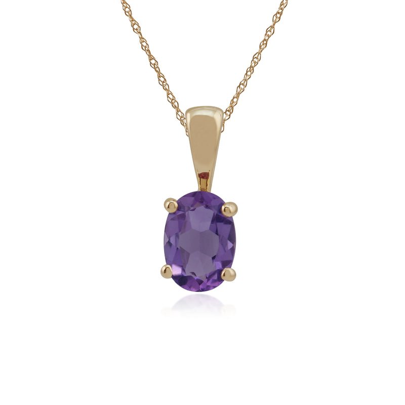 Classic Oval Amethyst Pendant in 9ct Yellow Gold