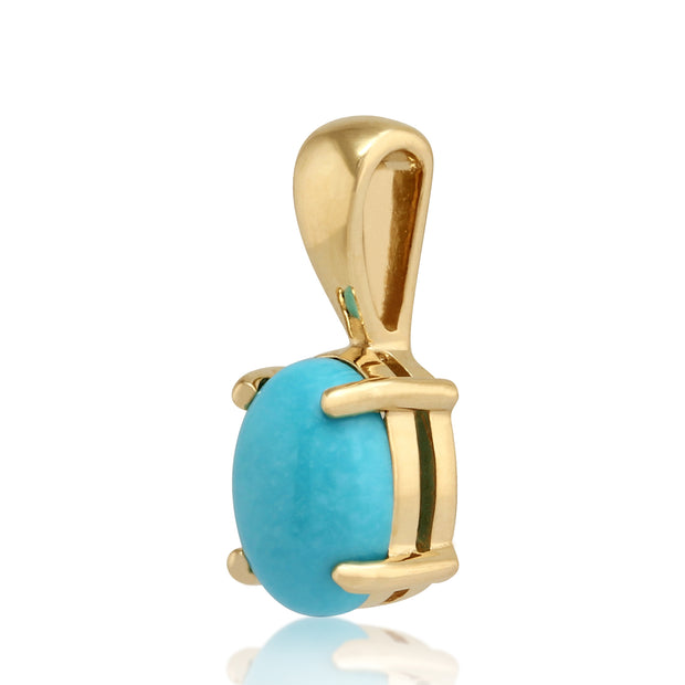 Classic Oval Turquoise Pendant in 9ct Yellow Gold