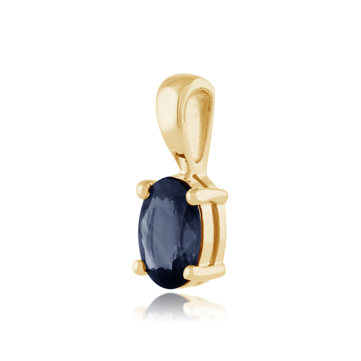 Classic Oval Light Blue Sapphire Pendant in 9ct Yellow Gold