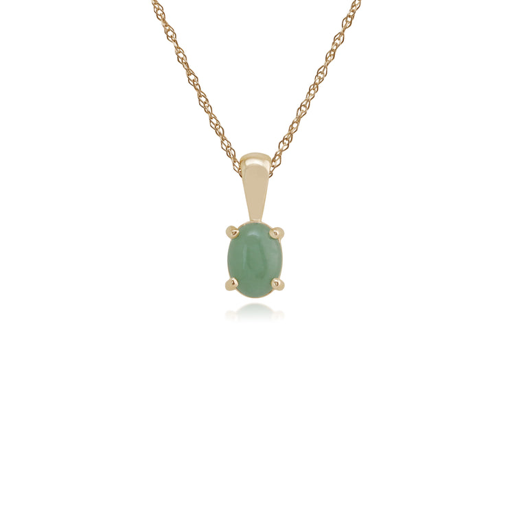 Classic Oval Green Jade Single Stone Pendant in 9ct Yellow Gold