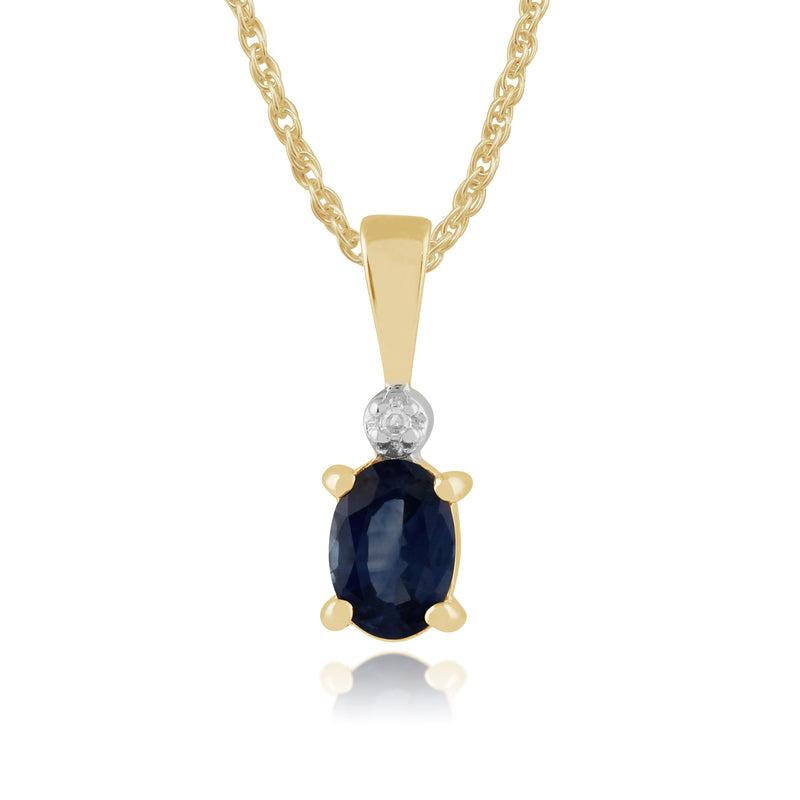 Classic Oval Light Blue Sapphire & Diamond Pendant in 9ct Yellow Gold
