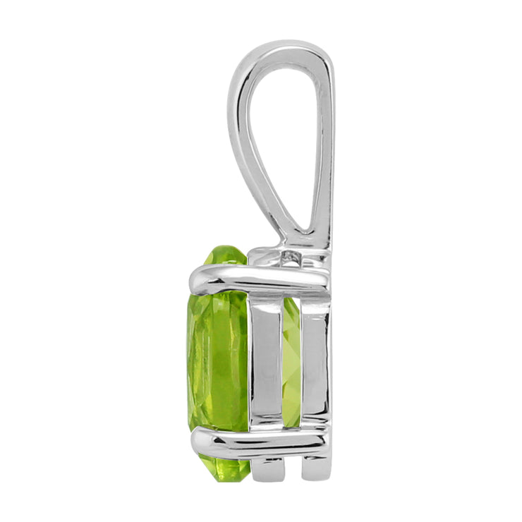 Classic Oval Peridot Pendant in 9ct White Gold