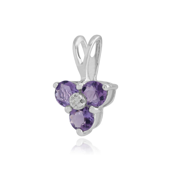 Floral Amethyst & Diamond Pendant in 9ct White Gold