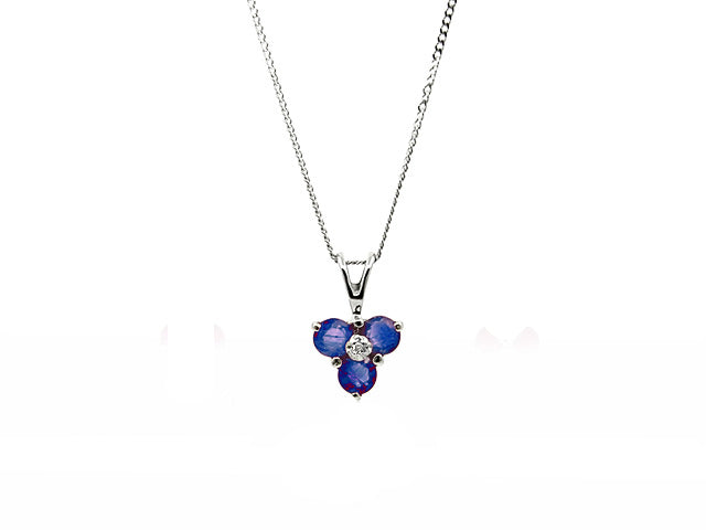 Classic Round Sapphire & Diamond Pendant in 9ct White Gold