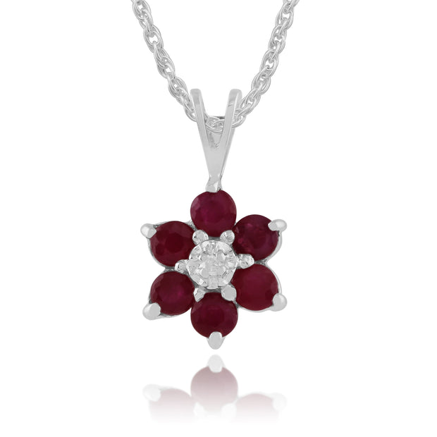 Floral Round Ruby & Diamond Pendant in 9ct White Gold