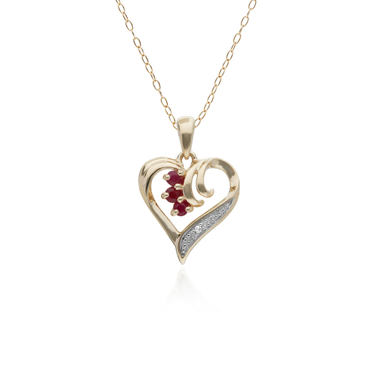 10ct Yellow Gold Ruby & Diamond Heart Pendant on 45cm Chain
