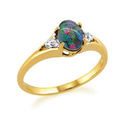 Classic Oval Triplet Opal & Diamond Ring in 9ct Yellow Gold