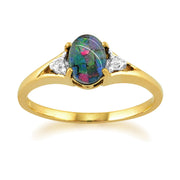 10ct Yellow Gold Oval Triplet Opal & Diamond Ring