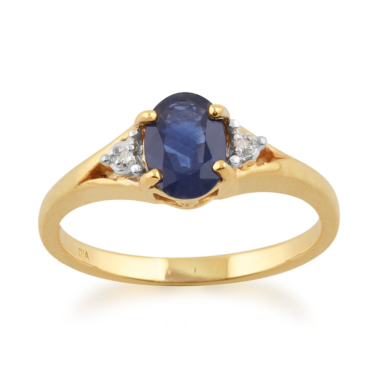Classic Oval Light Blue Sapphire & Diamond Ring in 9ct Yellow Gold
